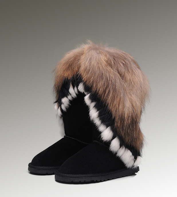 UGG Fox Fur Tall 8688 Black Boots